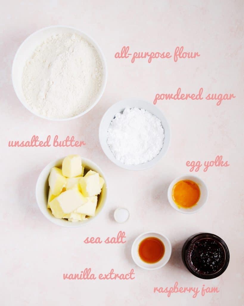 jammy dodger ingredients labelled in bowls