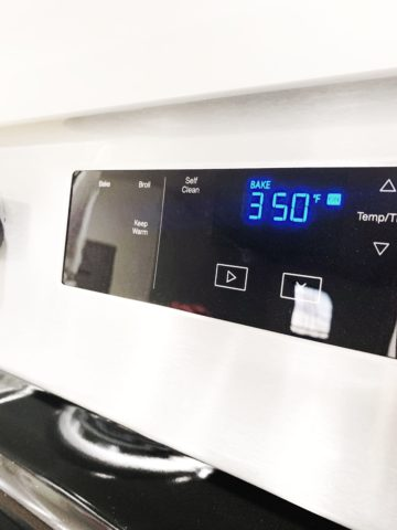 electronic oven reading while preheating to 350 degrees Fahrenheit