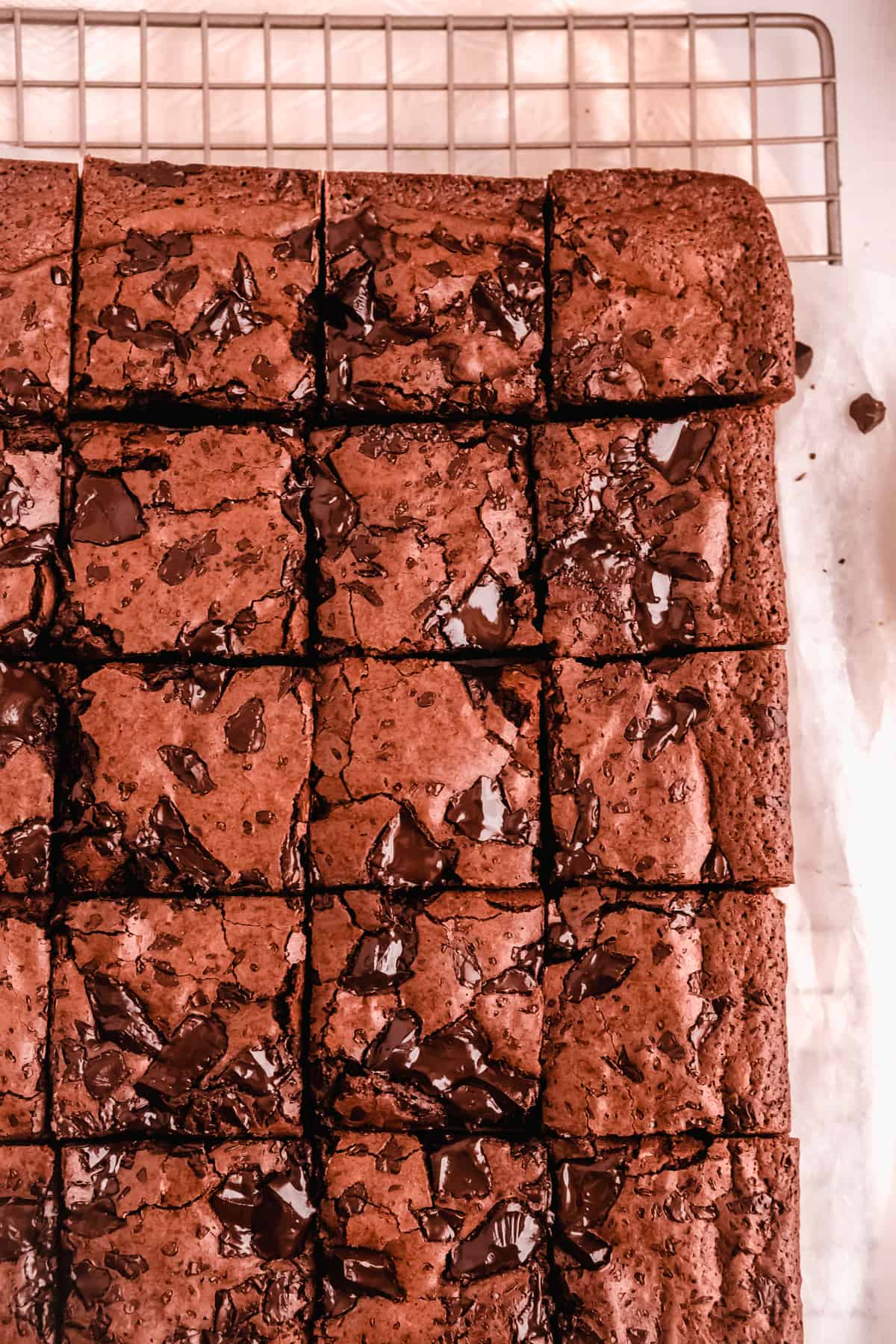 a full pan of fudgy gluten free brownies cut into squares on a wire cooling rack