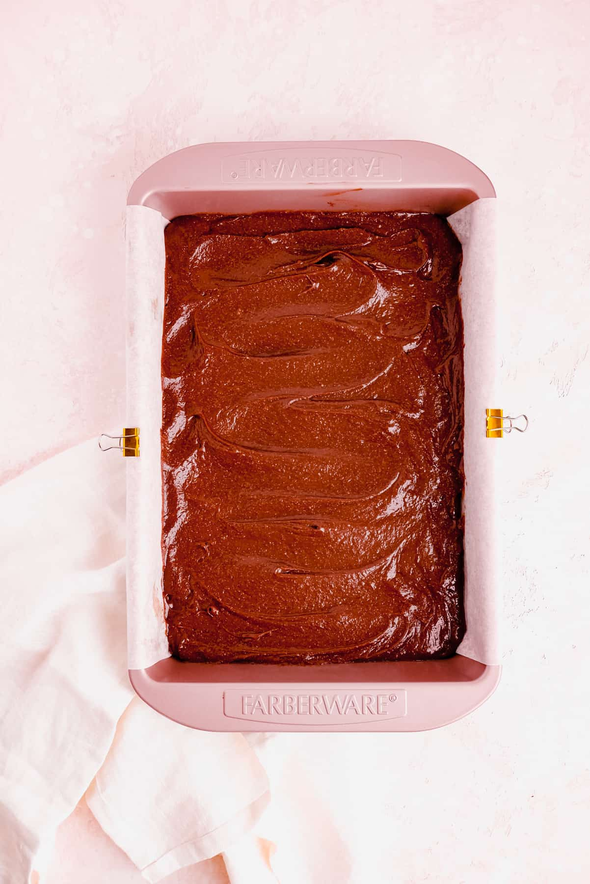 """a 9"""" x 13"""" pan full of fudgy gluten free brownie batter"""