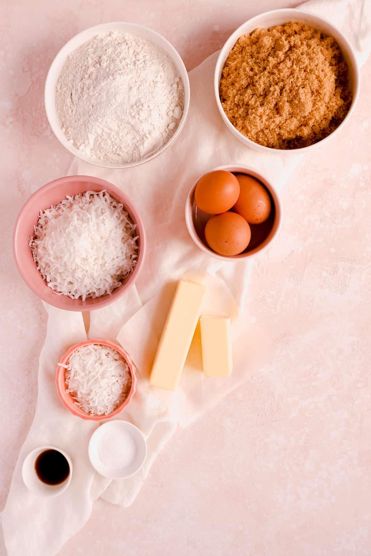 butterscotch bar ingredients in bowls