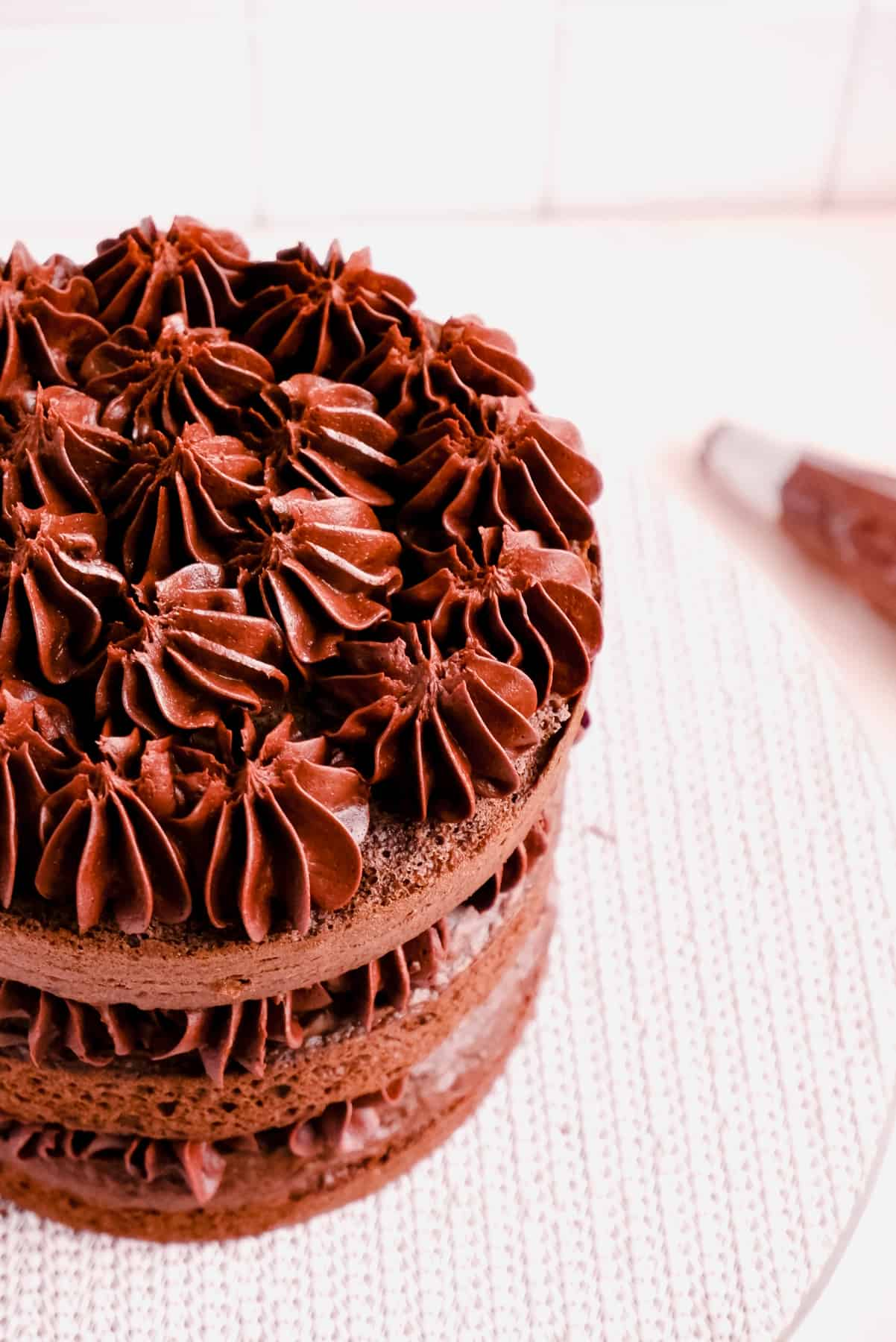 chocolate cake layers filled and topped with chocolate buttercream frosting