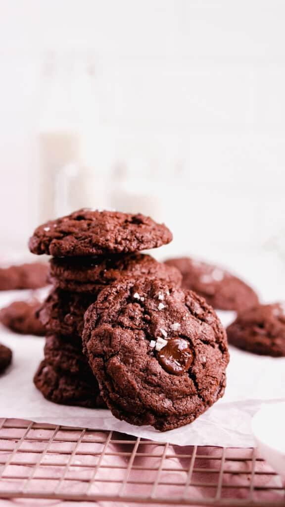 a stack of chocolate chocolate chip cookies with one on the side