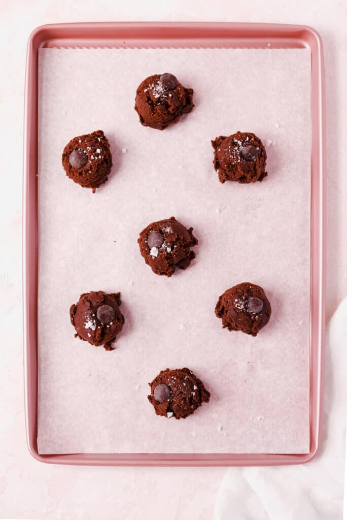 chocolate chocolate chip cookie dough on a baking tray