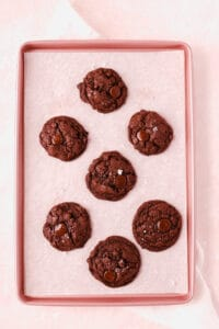 chocolate chocolate chip cookies on a baking tray