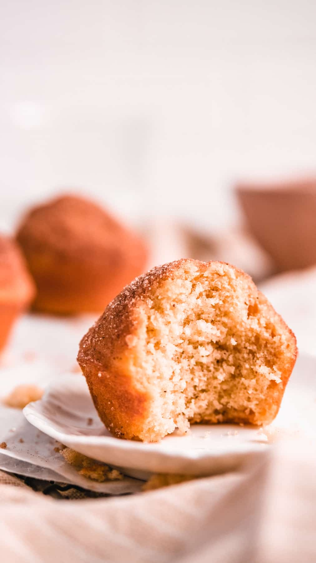 Cinnamon Donut Muffins on a plate with a bite out of it