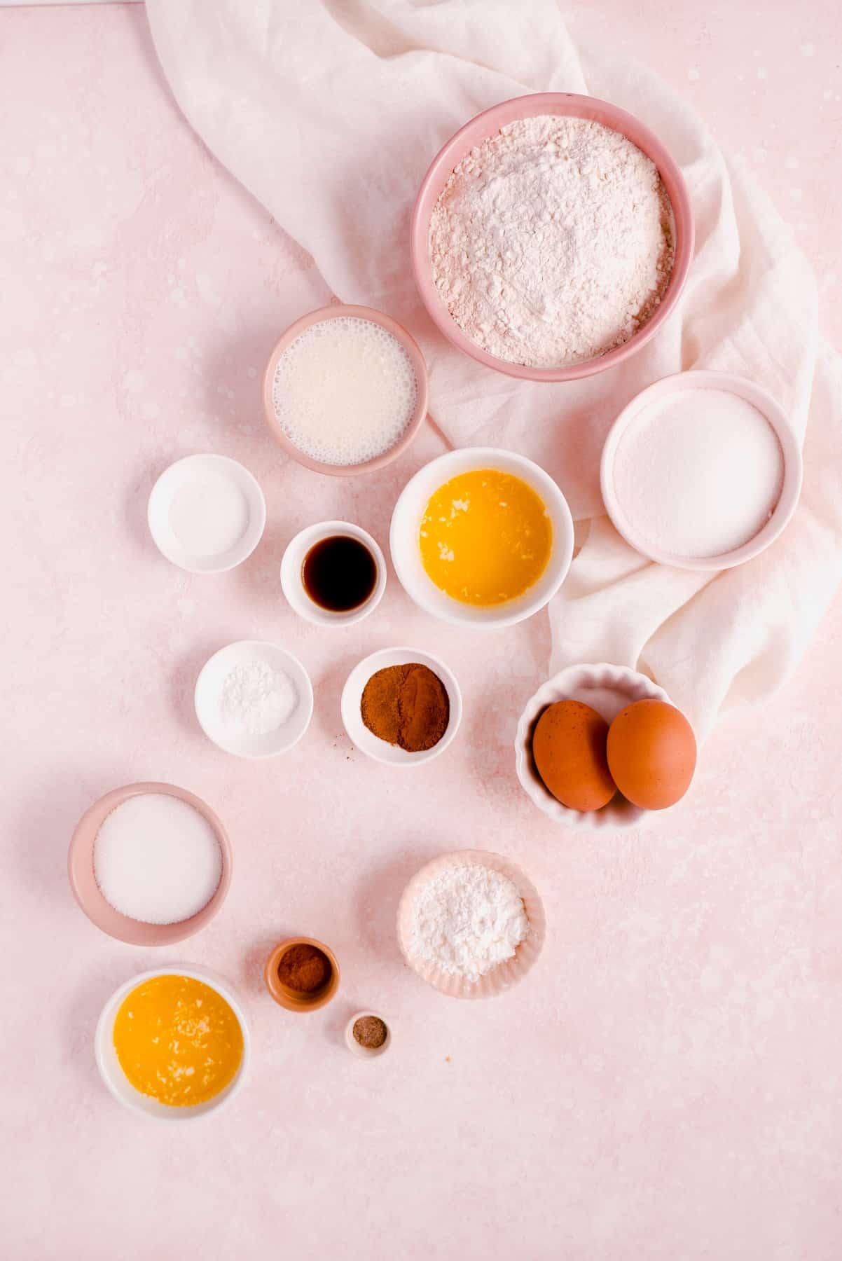 Cinnamon Donut Muffins ingredients in bowls