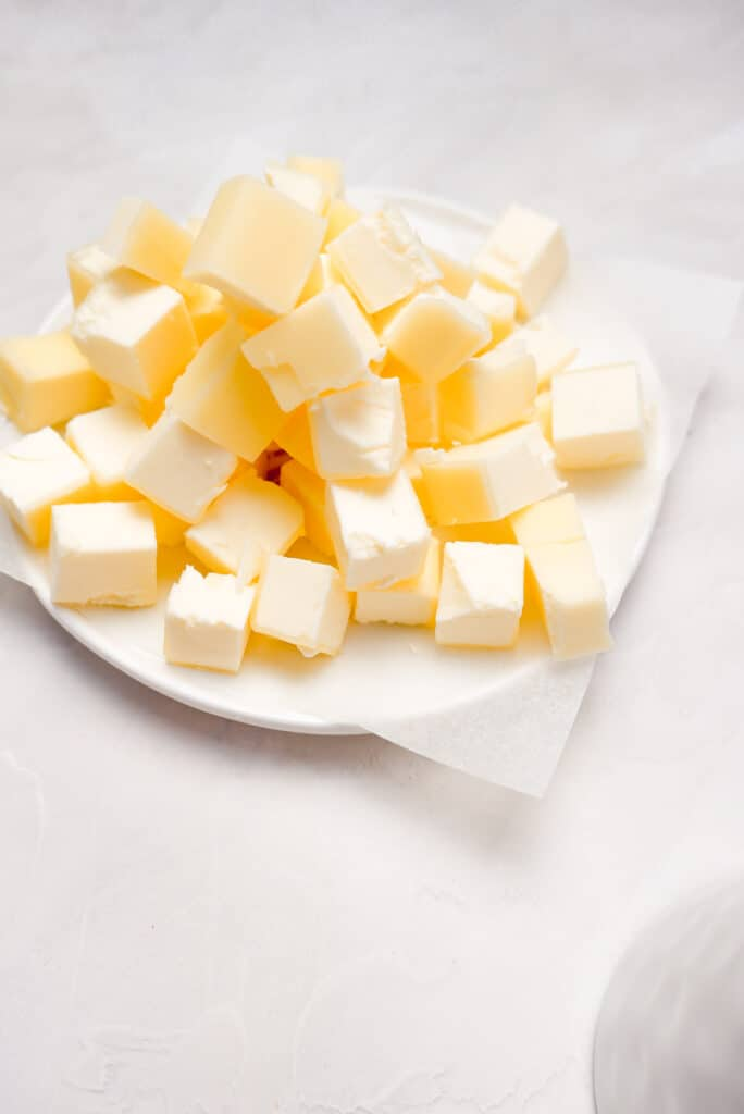Butter cubes on a dish