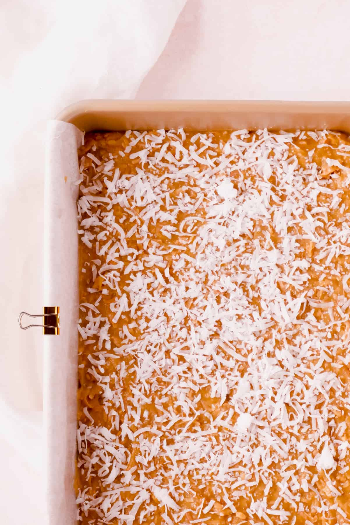 """coconut butterscotch bars in a 9""""x13"""" pan"""