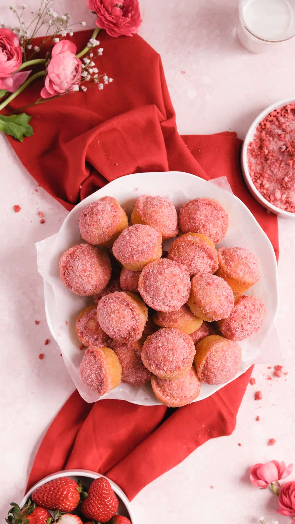 a pile of Strawberry Jam-Filled Donut Muffins