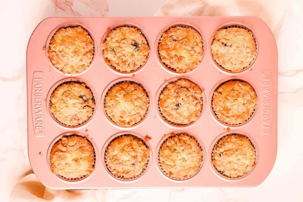 blueberry muffins with cinnamon streusel baked and in their pan still