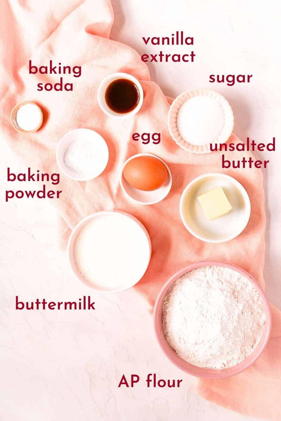 buttermilk pancake ingredients in bowls