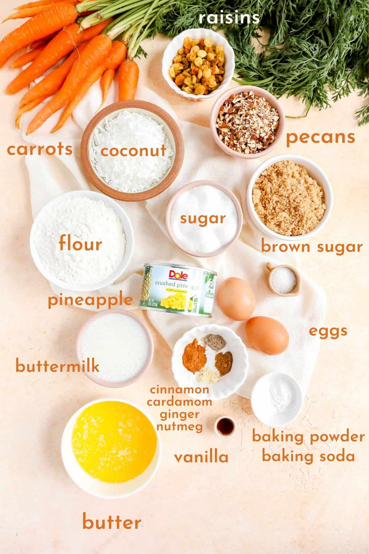 ingredients for carrot cake with pineapple all in separate bowls.