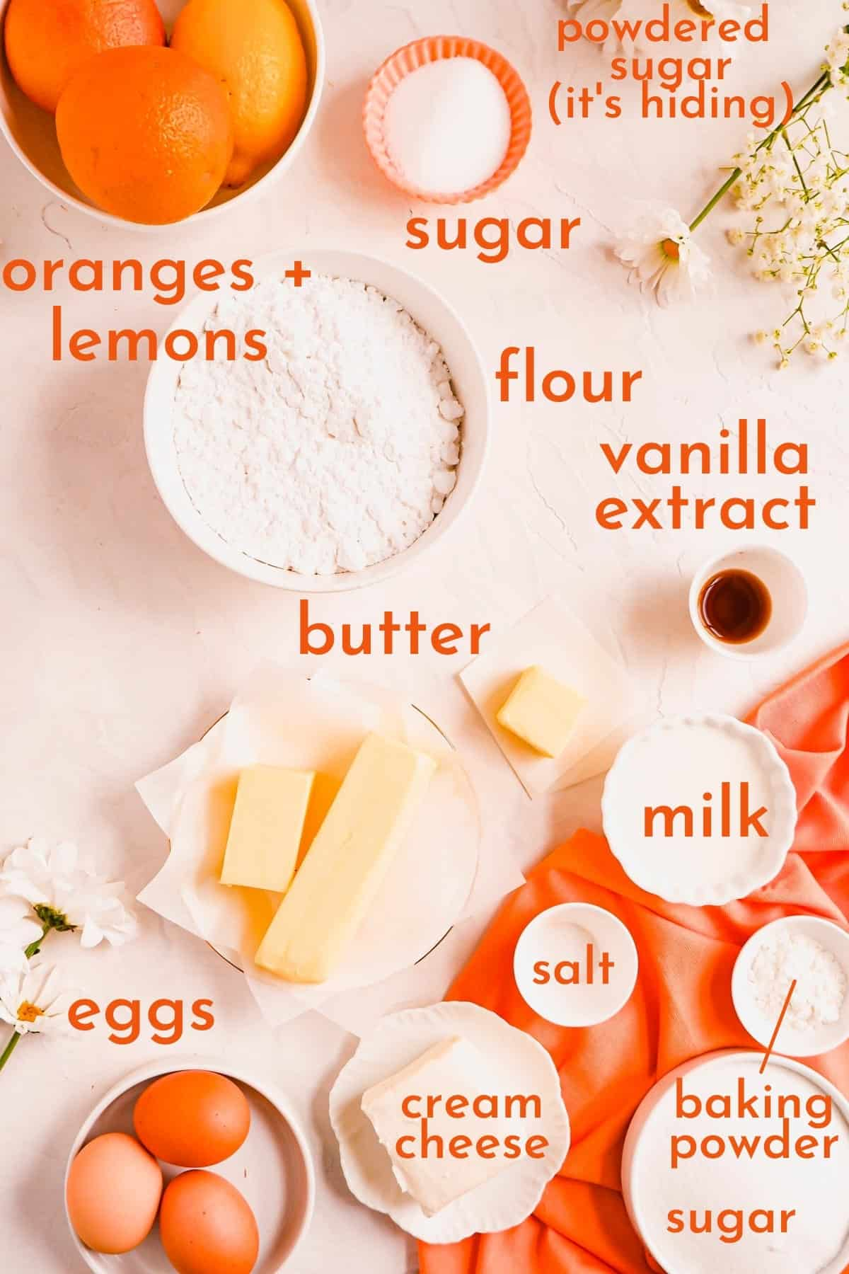 ingredients for making citrus cream cheese pound cake in bowls.