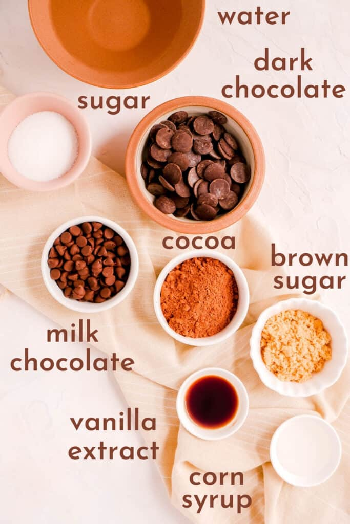 ingredients for making homemade hot fudge sauce in bowls.
