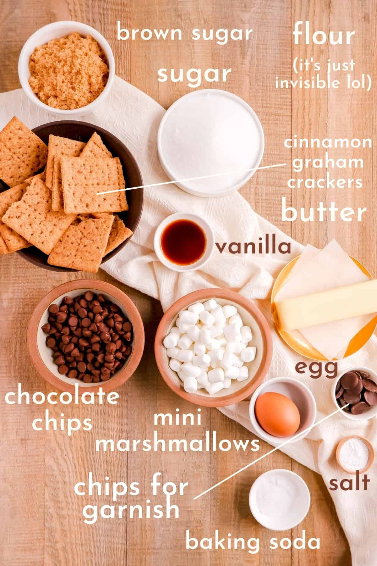 ingredients for making smores cookies in bowls.