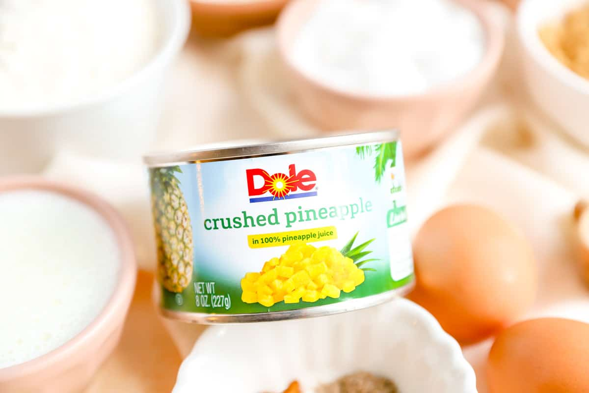 a can of dole crushed pineapple in the middle of other ingredients.